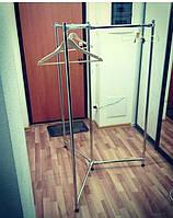 Стойка вешалка тройная из хромированных труб для одежды