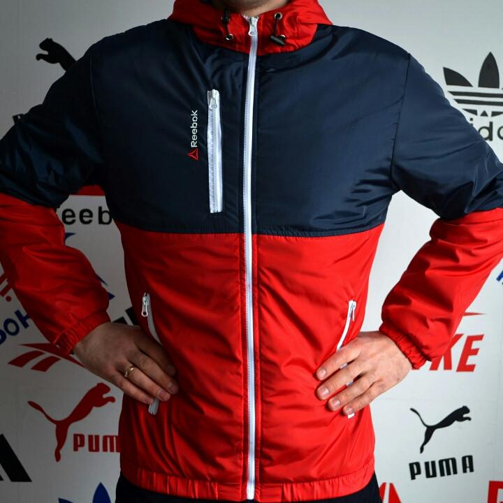Мужская куртка ветровка рибок с красным цветом - Интернет-магазин