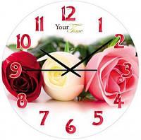 """Часы стеклянные """"Розы"""""""