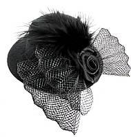 Женская мини шляпка заколка с розочкой и перьями чёрная, фото 1