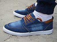 Мужские мокасины топ-сайдеры топсайдеры кеды низкие джинсовые синие