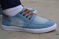 Мужские мокасины топсайдеры кеды низкие джинсовые синие