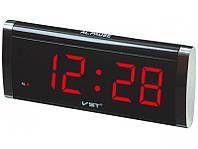 Электронные часы VST 730-1, ж/к дисплей, память, красная подсветка, будильник, сеть/батарейка
