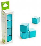 Магнитный конструктор Tegu из 4 кубиков голубой  (G-12-009)