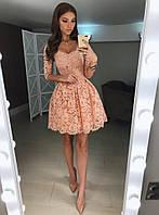 Нереально красивое платье гипюр + жаккард  048