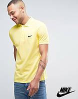 Футболка Поло Nike logo | Желтая тенниска Найк лого