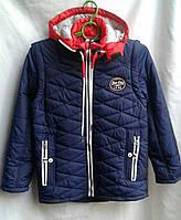 Куртка подростковая демисезонная для мальчика 8-12 лет, синяя, фото 1