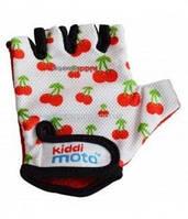 Перчатки детские Kiddi Moto белые с вишенками,  размер S на возраст 2-4 года (CLO-56-47)