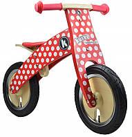 Беговел Kiddi Moto Kurve деревянный, красный в  белый горошек (SKD-72-44)