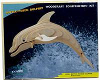 """Сборная деревянная 3D модель """"Дельфин"""" (2 пластины)"""