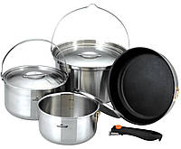 Посуда для кемпинга KKW-CW1105, нержавеющая сталь, 3 кастрюли, сковорода, съемная ручка