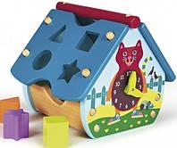 Сортер Oops Голубой деревянный домик с часами  (00484)