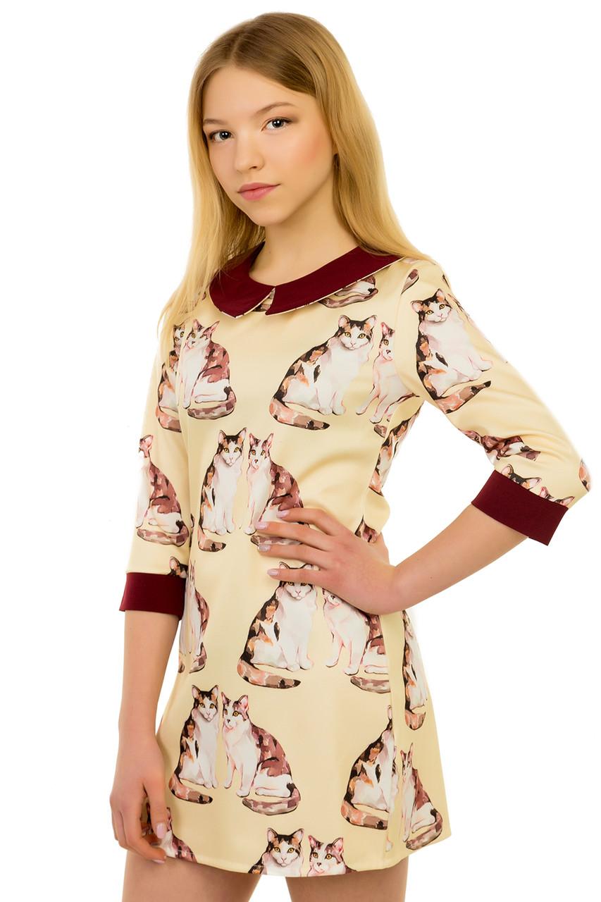 """Оригинальное платье для девочки подростка """"Кошки"""""""