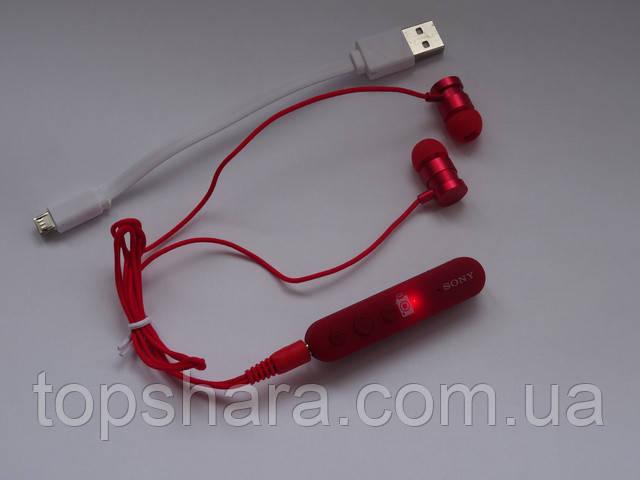 Наушники беспроводные Bluetooth (блютуз) гарнитура SONY MDR-EX950BT красные