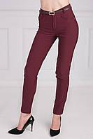 Молодежные зауженные брюки вишневого цвета, с высокой посадкой