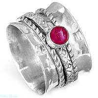 Серебряное медитативное кольцо с рубином 17,5 р