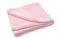 Вязаный плед с мехом (косичка) 4 сезона Jollein  100х150см, Светло-розовый