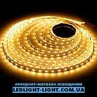 """Світлодіодна стрічка """"LC"""" 12 V 120 діодів/метр 9.6 W теплий, без силікону"""