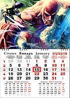 Календарь настенный квартальный, односекционный, на 2017 год