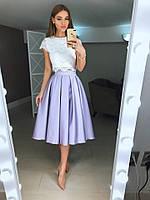 Костюм,набивной топ + юбка Миди из атласа 4412(много цветов)