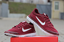 Мужские кроссовки летние Nike Free Run 3.0 бордовые, фото 2
