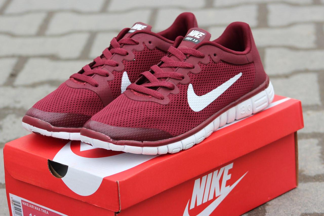 Мужские кроссовки летние Nike Free Run 3.0 бордовые