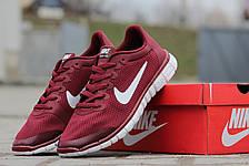 Мужские кроссовки летние Nike Free Run 3.0 бордовые, фото 3