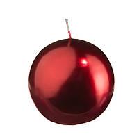 Свеча круглая парафиновая цвет красный металлик