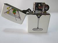 Зажигалка  ZIPPO (28271) белая, матовая, рисунок -  бокал с мартини