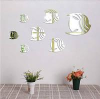 """Наклейка в ванную, акриловые наклейки, украшения стены наклейки """"зеркальные полосатые рыбки 7шт набор"""""""