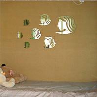"""Акриловые наклейки в ванную, на стены """"зеркальные полосатые рыбки 6шт """" клеятся на двусторонний скотч"""