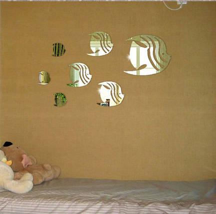 """Акриловые наклейки в ванную, на стены """"зеркальные полосатые рыбки 6шт """" клеятся на двусторонний скотч, фото 2"""