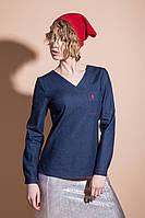 Стильная женская рубашка с треугольным вырезом джинс