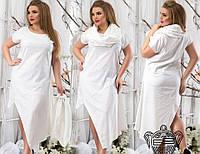 Летнее льняное платье с хомутом больших размеров