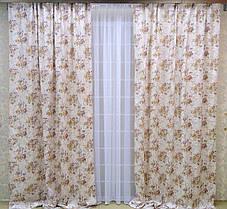 """Готовый комплект штор """"Цветочный Сад """" V4, фото 2"""