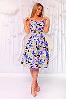 """Летнее коктейльное платье в цветочек """"Жасмин"""" с пышной юбкой (5 цветов)"""