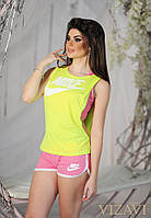 Женский яркий спортивный костюм тройка: шорты+майка+топ. Материал: трикотаж. Размер: см,мл.