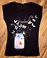 Женская футболка черная бабочки