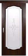 Раздвижная дверь ИНТЕРА РОКА, ПВХ DeLuxe  grey, венге nev, золотая ольха, каштан, ясень (стекло с рисунком Р1)
