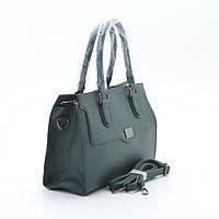 Классическая женская сумка зеленая  с клапаном