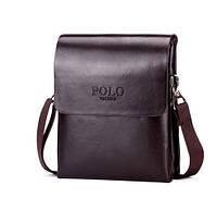 Удобная мужская сумка POLO Коричневая