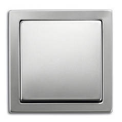 Выключатель одноклавишный проходной + рамка. ABB Steel