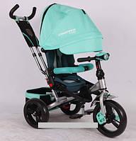 Трехколесный велосипед-коляска Azimut Crosser T-400 EVA бирюзовый