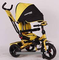 Трехколесный велосипед-коляска Azimut Crosser T-400 EVA желтый