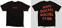 Футболка Paranoid + Anti Social social club черная с оранжевым логотипом,унисекс (мужская,женская,детская)