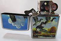 Зажигалка ZIPPO (28009)под сталь,матовая (серебристая), рисунок -  утки