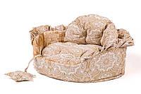 """Лежак для животных """"БОЛЕРО"""" №1, 47х35х15см, коричневый/крем"""