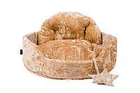 """Лежак для животных """"БОЛЕРО-М"""" №2, коричневый/крем, 55х44х17см"""