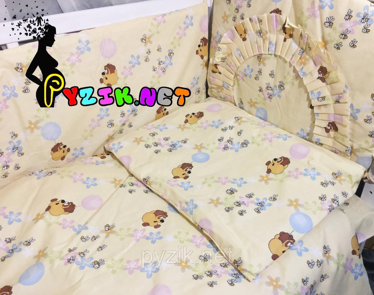 """Постельный набор в детскую кроватку (8 предметов) Premium """"Винни Пух"""" бежевый"""