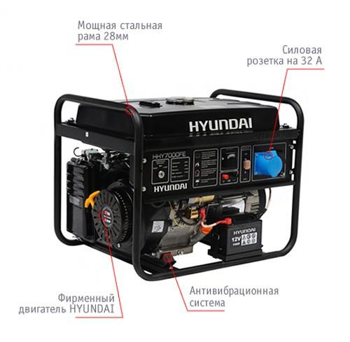 """Генератор HYUNDAI  """"HHY 7010FE""""  мощностью 5кВТ"""